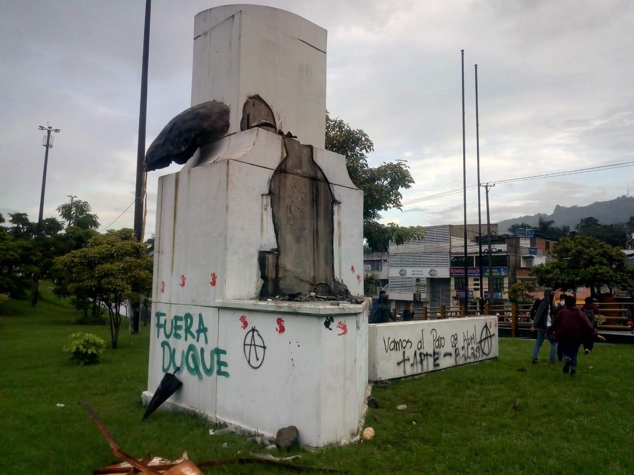 Monumento al fundador de Ibagué fue vandalizado 2
